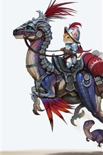 Preview iPhone wallpaper Cat riding dinosaur, knight, mouse, butterfly, art picture