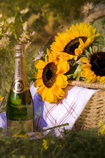 Preview iPhone wallpaper Champagne, sunflowers, basket, grass, summer