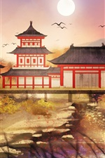 Preview iPhone wallpaper Chinese retro style park, art drawing