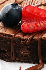 Preview iPhone wallpaper Chocolate cake, raspberry, blueberry, dessert