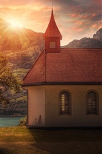 Preview iPhone wallpaper Church, house, trees, mountains, river, sunset