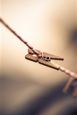Preview iPhone wallpaper Clothespins, rope, bokeh