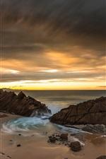 Preview iPhone wallpaper Coast, sea, beach, clouds, sunset