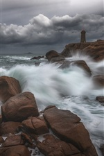Preview iPhone wallpaper Coast, sea, rocks, lighthouse