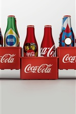 Preview iPhone wallpaper Coca Cola drinks, bottles, white background