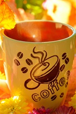Preview iPhone wallpaper Coffee cup, yellow leaves, flowers, autumn