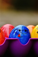 Preview iPhone wallpaper Colorful Easter eggs, face