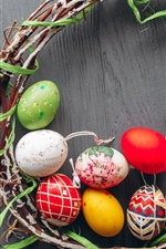 Preview iPhone wallpaper Colorful Easter eggs, wreath