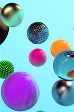 Preview iPhone wallpaper Colorful balls, different style, 3D design