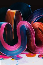 Colorful bending curves, paint, volume, abstract