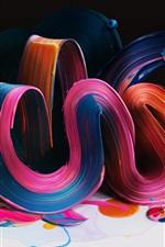 Curvas de flexão coloridas, pintura, volume, resumo