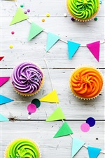 Preview iPhone wallpaper Colorful cupcakes and colorful flags