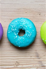 Preview iPhone wallpaper Colorful donuts, rainbow colors