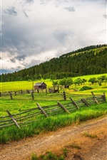 Preview iPhone wallpaper Countryside, farmland, fence, grass, trees, road, clouds