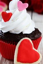 Preview iPhone wallpaper Cupcake, cream, love heart