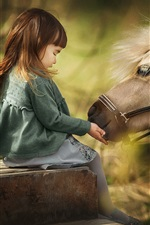 Preview iPhone wallpaper Cute little girl and horse, mane