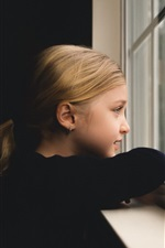 Preview iPhone wallpaper Cute little girl look out the window