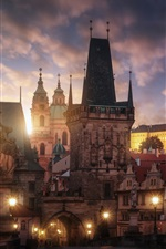 Preview iPhone wallpaper Czech Republic, Prague, evening, lights, city, buildings