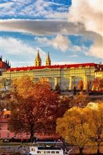 Preview iPhone wallpaper Czech Republic, Prague, trees, river, boats, buildings, autumn