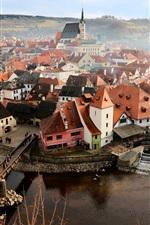 Czech Republic, city, houses, river, bridge, fog, morning