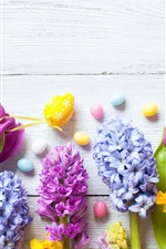 Preview iPhone wallpaper Daffodils, hyacinths, tulips, colorful eggs, Easter