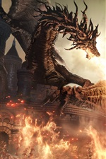 Preview iPhone wallpaper Dark Souls III, RPG game, dragon, fire, warrior