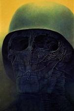 Death, skull, helmet, horror, art picture