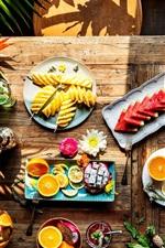 Preview iPhone wallpaper Delicious fruit slices, watermelon, orange, pineapple, pitaya