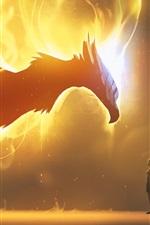 iPhone fondos de pantalla Dragón, alas, fuego, niña, imagen de arte de fantasía