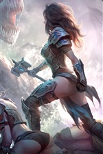 Preview iPhone wallpaper Dragons of Eternity, game art picture, girl, warrior