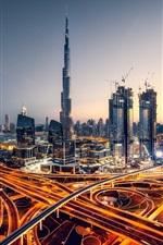 Dubai, UAE, evening, city, skyscrapers, lights, roads
