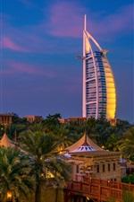 Dubai, night, city, trees, river, villa