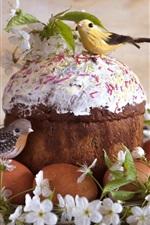 Eggs, cake, birds, flowers, Easter