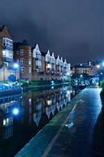 Preview iPhone wallpaper England, Birmingham, river, boats, night, lights