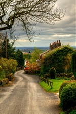 Preview iPhone wallpaper England, town, road, houses, trees