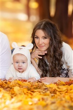 Preview iPhone wallpaper Family, outdoor, autumn, baby, dad, mom