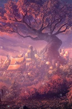 Fantasy Forest City, gate, forest, houses, art painting