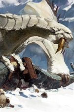 Preview iPhone wallpaper Fantasy, art picture, snow, warrior, monster