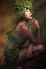 iPhone обои Девушка-фантазия, азиатская, растения, художественная фотография