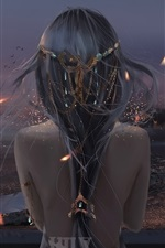 Fantasia garota vista traseira, pássaros, crepúsculo