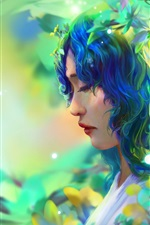 Preview iPhone wallpaper Fantasy girl, blue hair, leaves