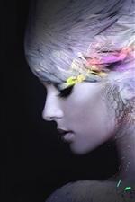 iPhone обои Девушка-фантазия, перья, черный фон