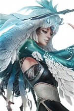 Preview iPhone wallpaper Fantasy girl, owl elf, sword, wings