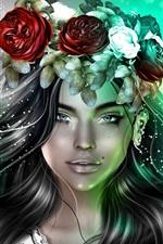 Preview iPhone wallpaper Fantasy girl, wreath, black hair, wings, angel