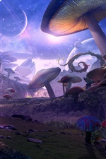 Fantasy world, planet, mushrooms, art picture
