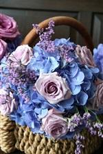 Flowers, basket, pink roses, blue hydrangea