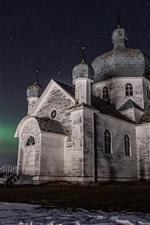Preview iPhone wallpaper Forgotten church, Saskatchewan, Canada, starry, night