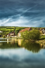 Preview iPhone wallpaper France, Normandy, houses, lake, hills, clouds