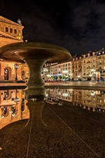 Preview iPhone wallpaper Frankfurt am Main, Germany, Old Opera, reflection, night