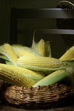 Preview iPhone wallpaper Fresh corn, chair, basket